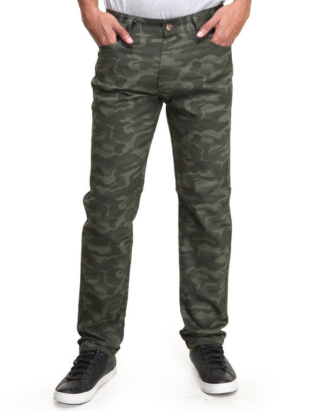 MO7 Olive All-Over Camo Print Slim/Straight Twill Pants