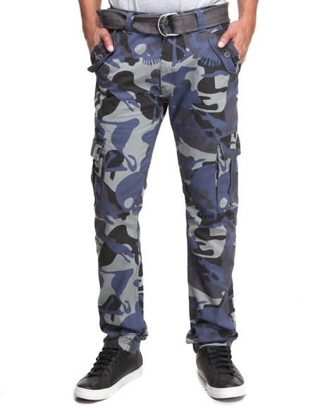Buyers Picks - Men Camo All-Over Skull Camo Belted Cargo Pants