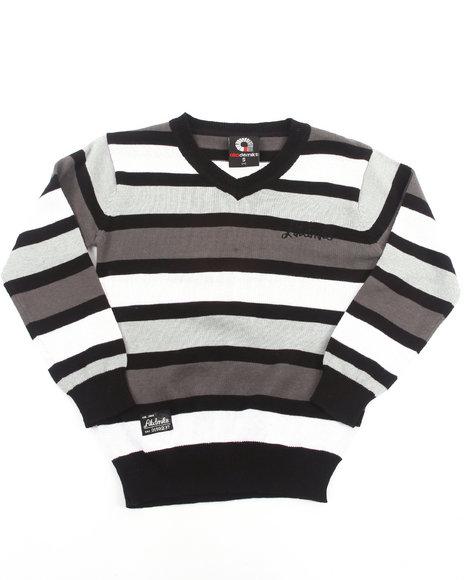 Akademiks - Boys Black Striped V-Neck Sweater (4-7)
