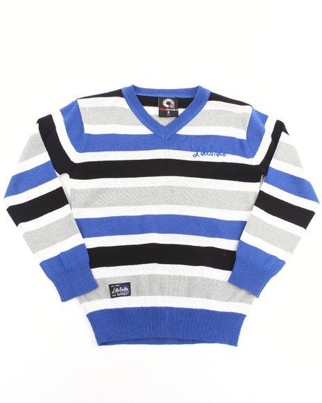 Akademiks - Boys Blue Striped V-Neck Sweater (4-7)