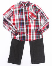 Boys - 2 PC SET - PLAID WOVEN & JEANS (4-7)