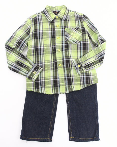 Akademiks - 2 PC SET - PLAID WOVEN & JEANS (4-7)