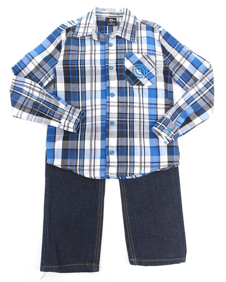 Akademiks - Boys Blue 2 Pc Set - Plaid Woven & Jeans (4-7)
