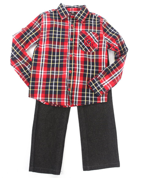 Akademiks - Boys Red 2 Pc Set - Plaid Woven & Jeans (4-7)