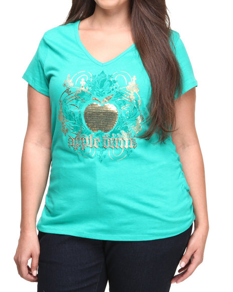 Apple Bottoms - Women Green Sequin Apple Logo Tee (Plus)
