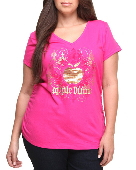 Apple Bottoms - Women Pink Sequin Apple Logo Tee (Plus) - $9.99