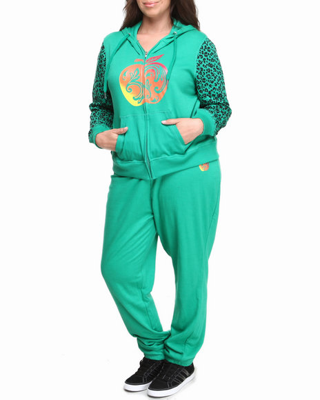 Apple Bottoms - Women Green Cheetah Print Sleeves Logo Active Set (Plus)
