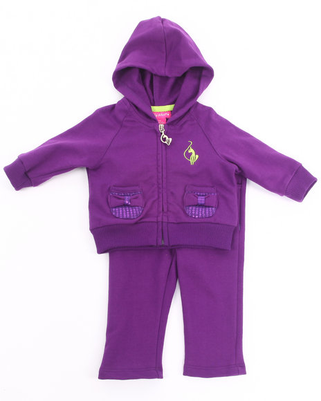 Baby Phat - Girls Purple 2 Pc French Terry Set (Newborn)