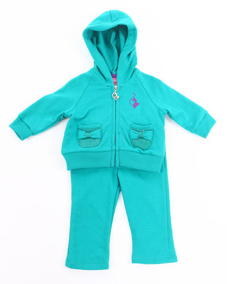 Baby Phat Girls Teal 2 Pc French Terry Set (Newborn)