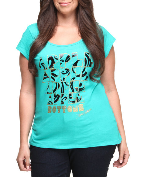 Apple Bottoms - Women Green Mod Logo Twist Back Tee (Plus)