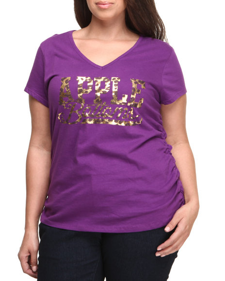Apple Bottoms - Women Purple Cheetah Script Logo Tee (Plus) - $10.99
