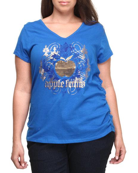 Apple Bottoms - Women Blue Sequin Apple Logo Tee (Plus)