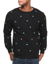 Men - Bear Paw All-Over Embroidery Crewneck Sweatshirt
