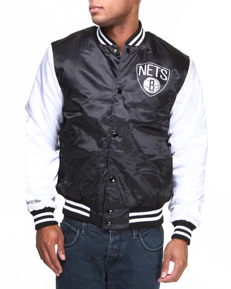 Nba, Mlb, Nfl Gear - Men Black Brooklyn Nets Nba Sublimated Jacket