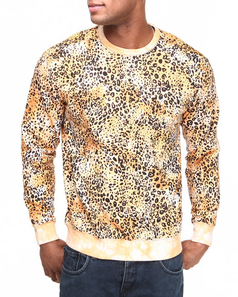 Buyers Picks - Men Gold Tie Dye Leopard Print Crewneck Sweatshirt