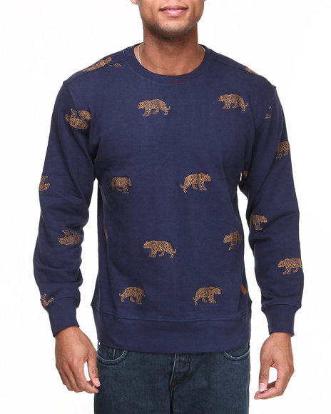Buyers Picks - Men Navy Tiger Embroidery Crewneck Sweatshirt
