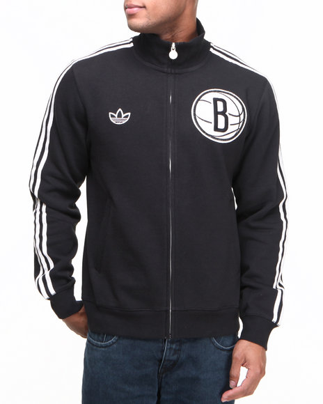 Adidas Black Brooklyn Nets Fleece Track Jacket