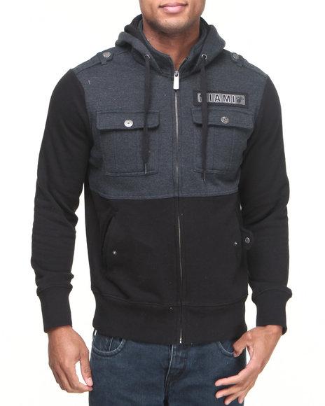 Nba, Mlb, Nfl Gear - Men Black Miami Heat Darkness Hooded Fleece Jacket