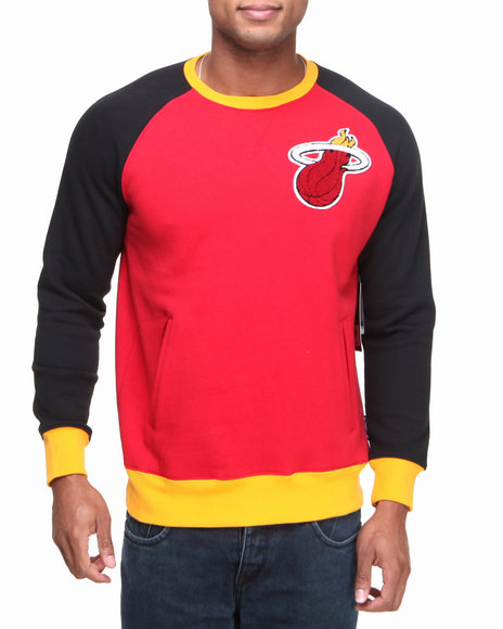 Nba, Mlb, Nfl Gear - Men Red Miami Heat Crew Neck Sweatshirt