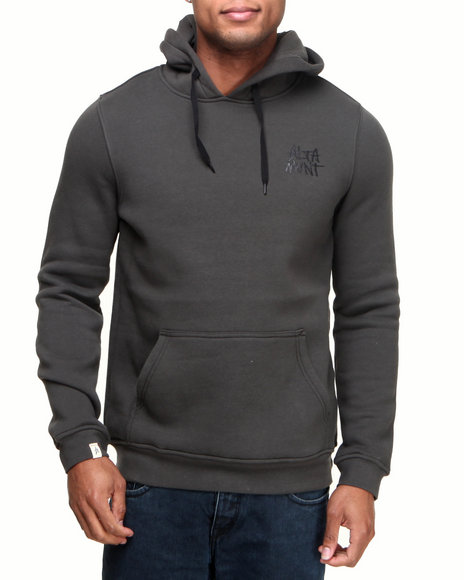 Altamont - Men Black Stacked Pullover Fleece Hoodie