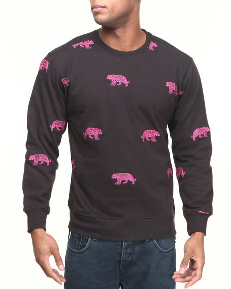 Buyers Picks - Men Black Tiger Embroidery Crewneck Sweatshirt