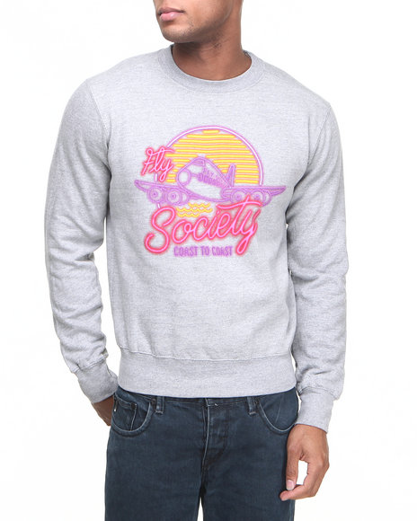 Flysociety - Men Grey Neon Dreams Crew Sweater - $32.99