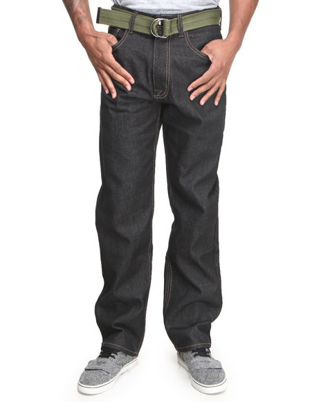 Akademiks - Men Black Jackson Belted Raw Wash Denim Jeans