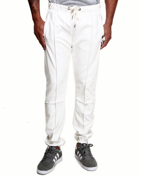 Forte' White Faux Leather Jogging Pants