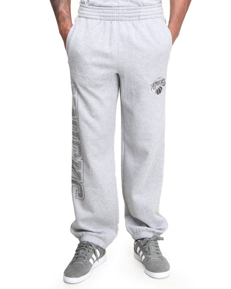 Nba, Mlb, Nfl Gear - Men Grey New York Knicks Team Grater Fleece Sweatpants