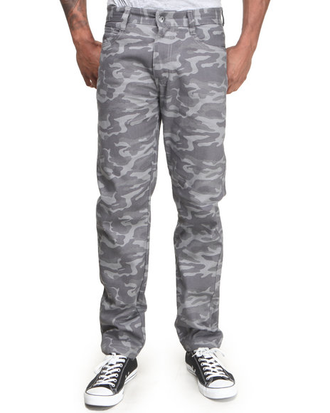Mo7 - Men Grey All-Over Camo Print Slim/Straight Twill Pants