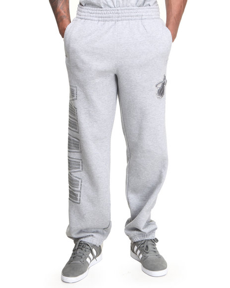 Nba, Mlb, Nfl Gear - Men Grey Miami Heat Team Grater Fleece Sweat Pants