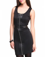 Dresses - Vegan Leather Front Cut Out Sides Zip Front Sheath