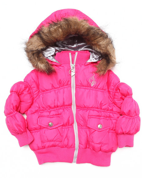 Baby Phat - Girls Pink Rouched Bomber Jacket (2T-4T)