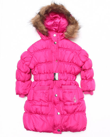 Baby Phat Girls Dark Pink It's Down Long Coat (2T-4T)