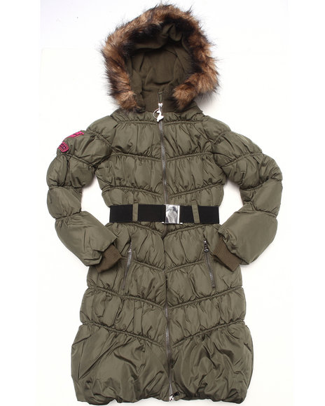 Baby Phat - Girls Olive Chevron Long Coat (7-16)