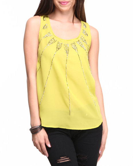 ALI & KRIS Green Starburst Sequin Chiffon Top