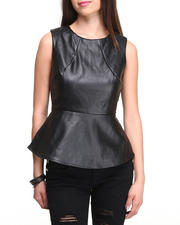 Women - Vegan Leather Zip Back Peplum Top