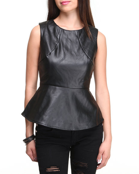 Ali & Kris - Women Black Vegan Leather Zip Back Peplum Top - $12.99