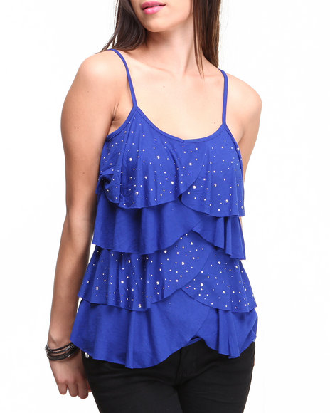 Almost Famous Blue Studded Cha Cha Tiered Cami