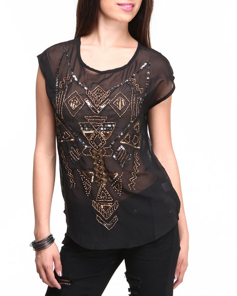 ALI & KRIS Black Aztec Sequin Chiffon Top