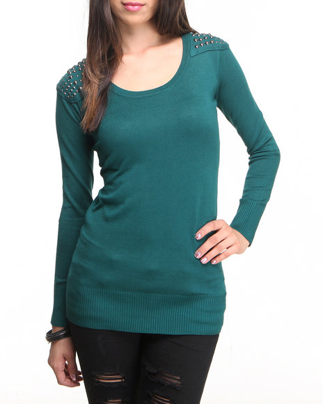 Almost Famous - Women Green Studded Tunic Sweater - $12.99