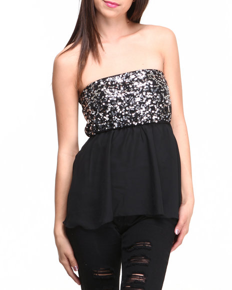 Almost Famous - Women Black Sequin Chiffon Tube Top - $7.99