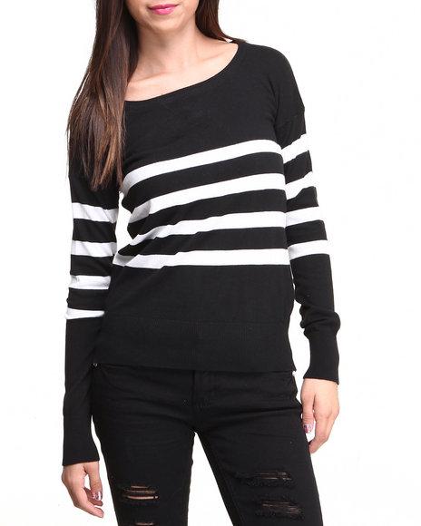 Basic Essentials - Women Black Lucy Pullover Stripe Sweater
