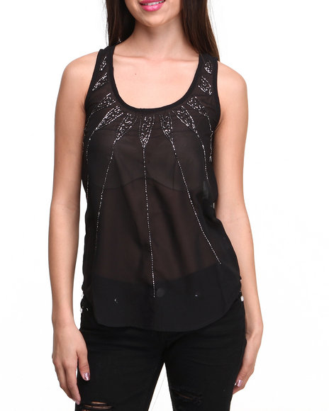 ALI & KRIS Black Starburst Sequin Chiffon Top