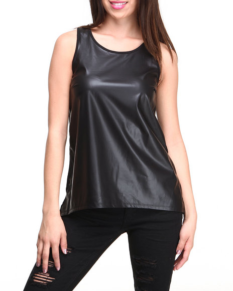 Almost Famous - Women Black Vegan Leather Front Hi-Low Hem Swing Top - $9.99