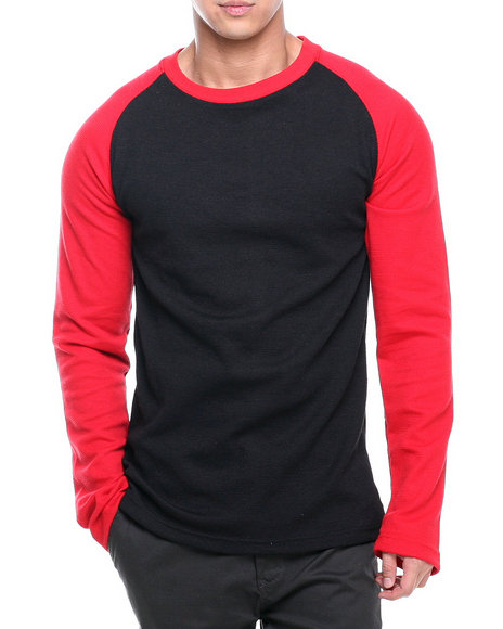 Basic Essentials - Men Red Long Sleeve Raglan Thermal