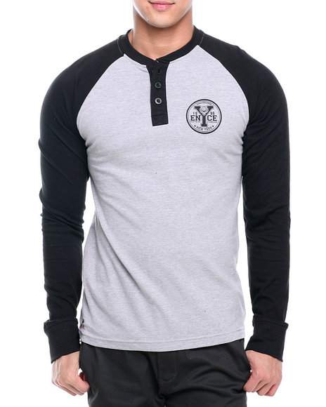 Enyce Grey Flying Tiger Graphic Baseball Henley