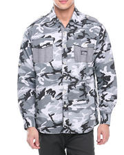 Akademiks - Alpha All Over Camo Roll Up Botton Down Shirt