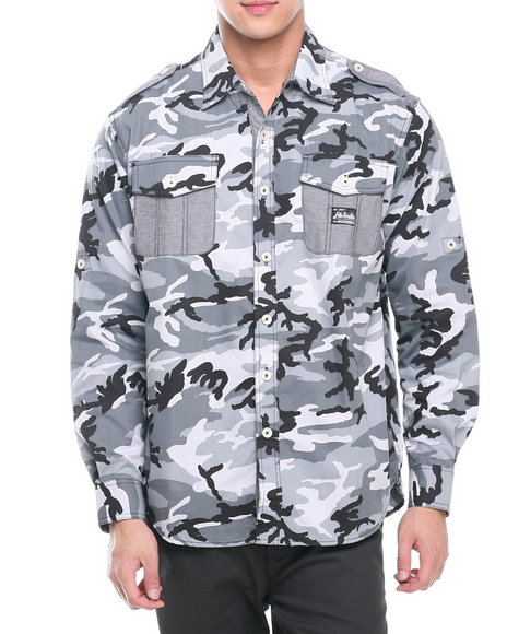 Akademiks Black Alpha All Over Camo Roll Up Botton Down Shirt