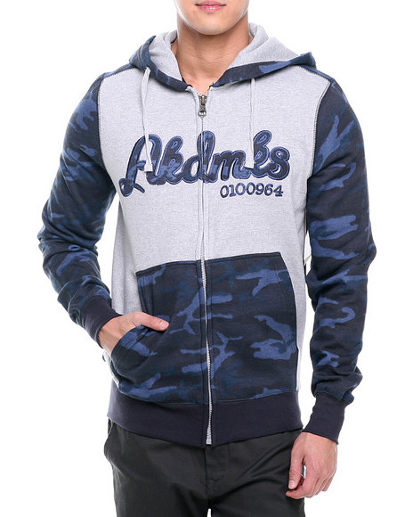 Akademiks - Men Navy Stealth All Over Fleece Zip Hoodie
